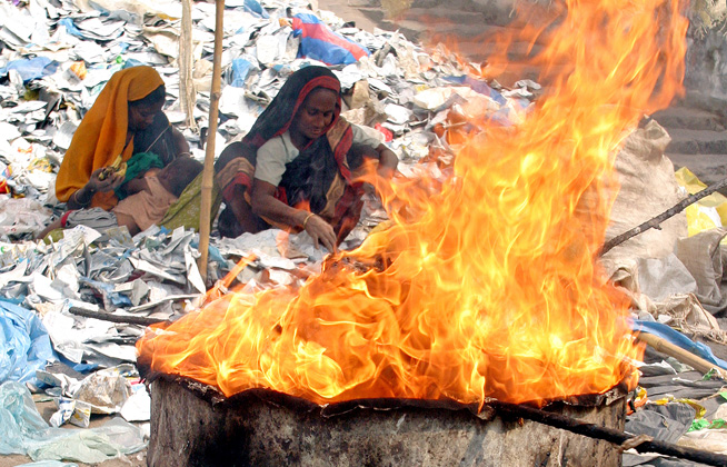 In Bangladesh waste is collected informally and often burnt