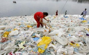 Plastic bags at river bank