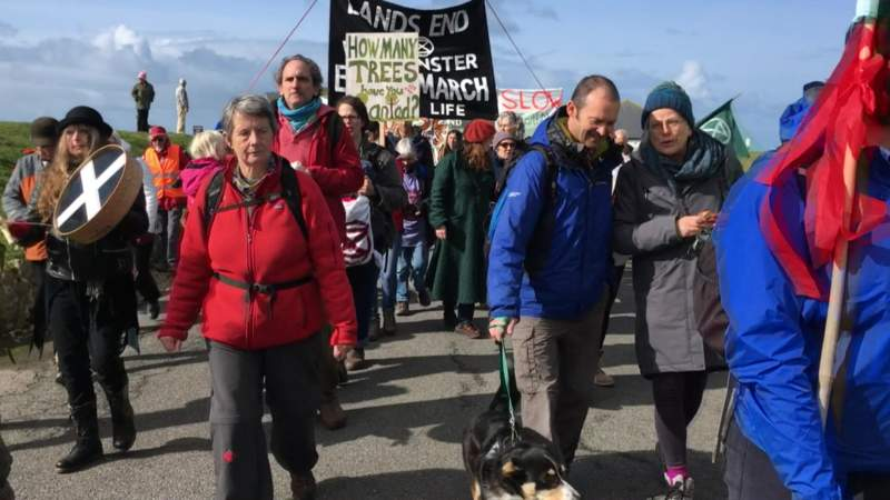 Climate change protesters in Land's End to Westminster walk